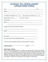 Florida TSA Scholarship Application Form