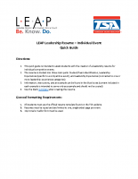 LEAP Leadership Resume Individual Events Instructions Quick Guide